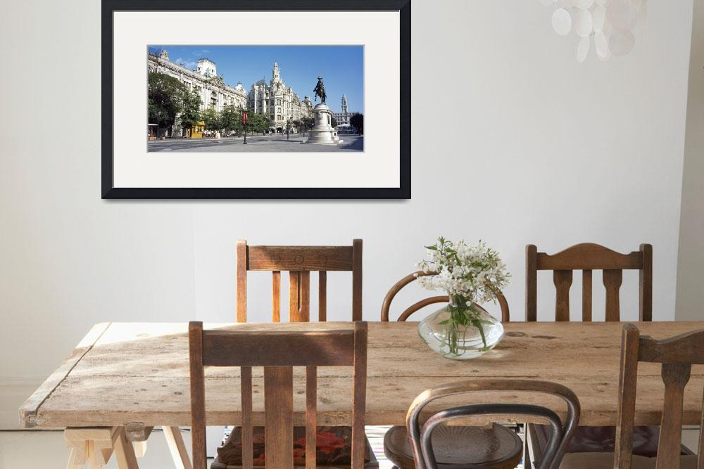 """Buildings at a town square Bank Of Portugal Praca&quot  by Panoramic_Images"