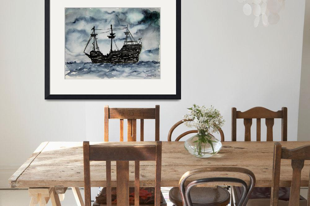 """captain memo pirate ship art painting&quot  by derekmccrea"