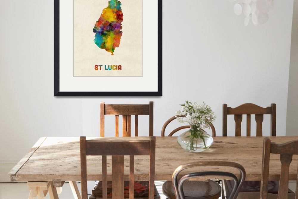 """St Lucia Watercolor Map&quot  (2016) by ModernArtPrints"