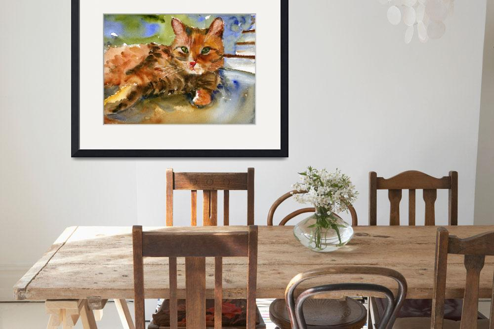 """Cat King, Watercolor Painting Animal Orange Ginger&quot  (2008) by schulmanart"