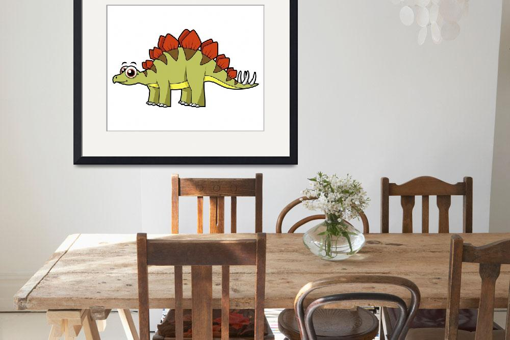 """Cute illustration of a Stegosaurus dinosaur&quot  by stocktrekimages"