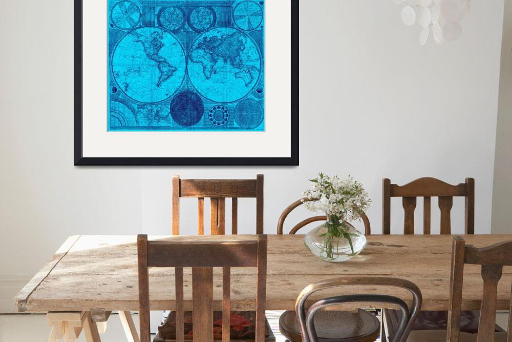 """World Map (1794) Light Blue & Blue&quot  by Alleycatshirts"
