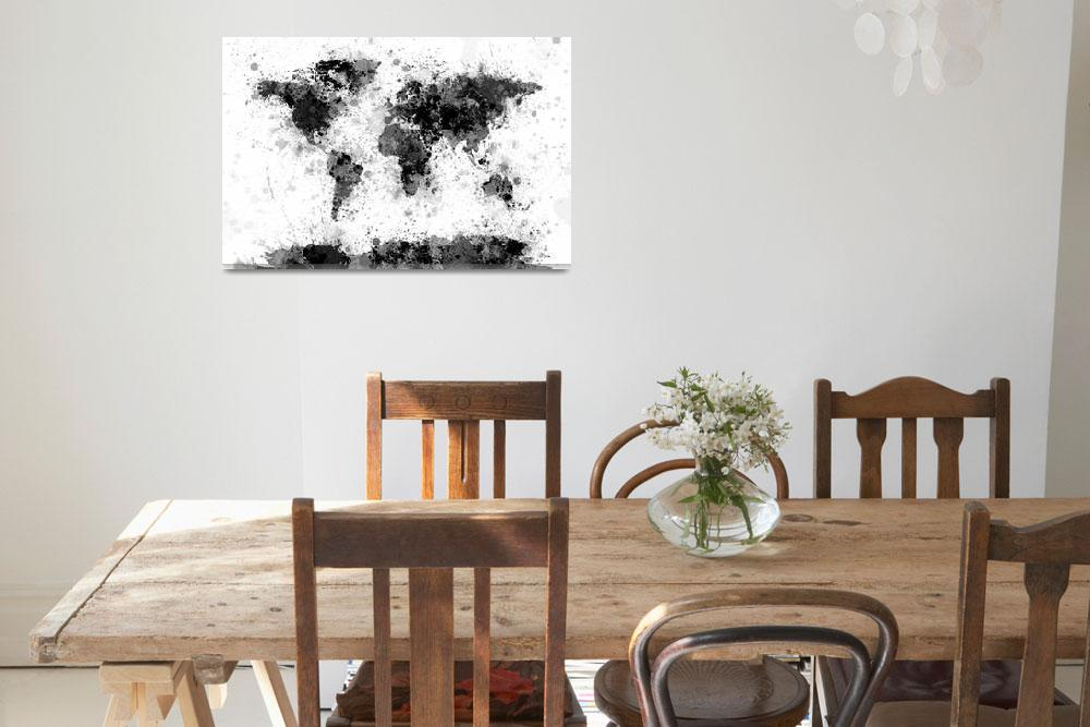 """World Map Paint Splashes&quot  (2015) by ModernArtPrints"