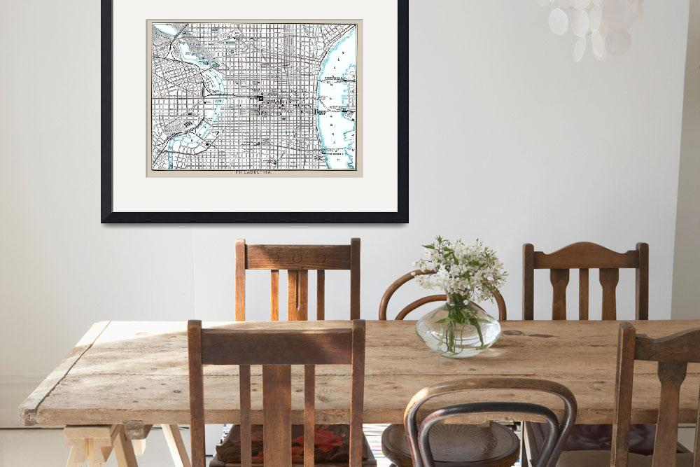 """Philadelphia Antique Map from 1892&quot  (2015) by WilshireImages"