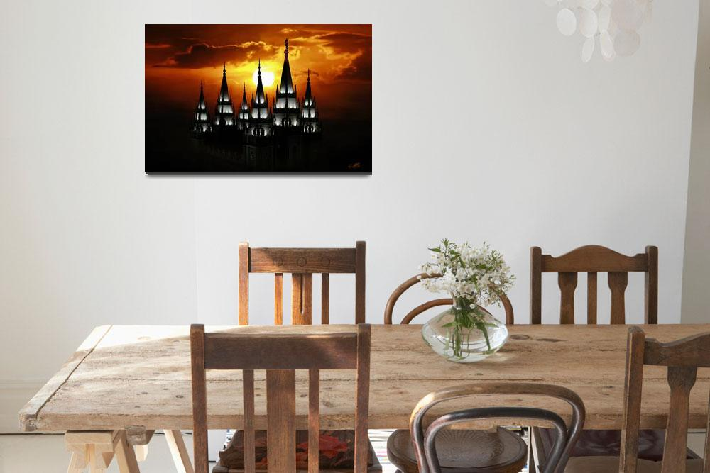 """20x30 Salt Lake Temple Sunset Spires&quot  (2009) by lightvoyages"