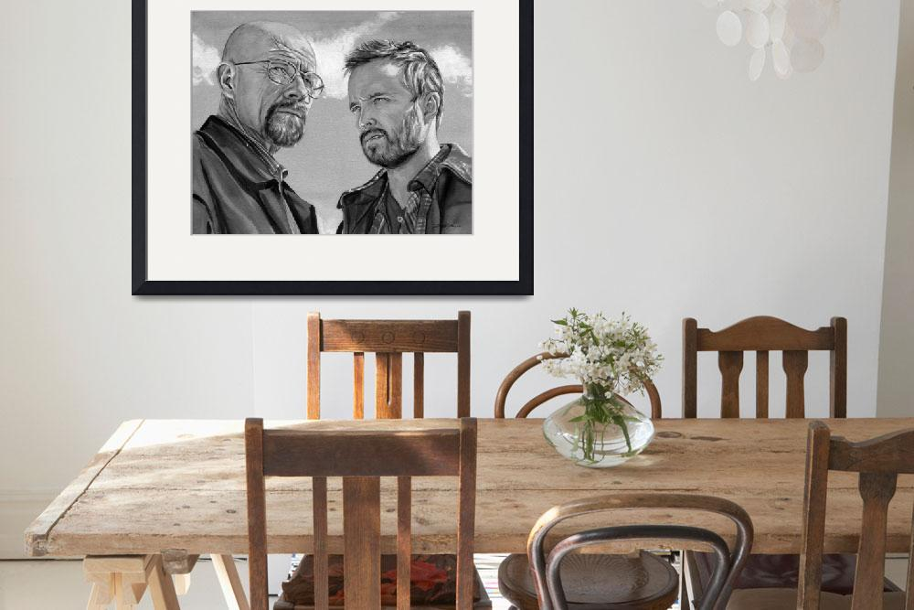 """Walter White and Jesse Pinkman (black and white)&quot  (2013) by KellyEddington"