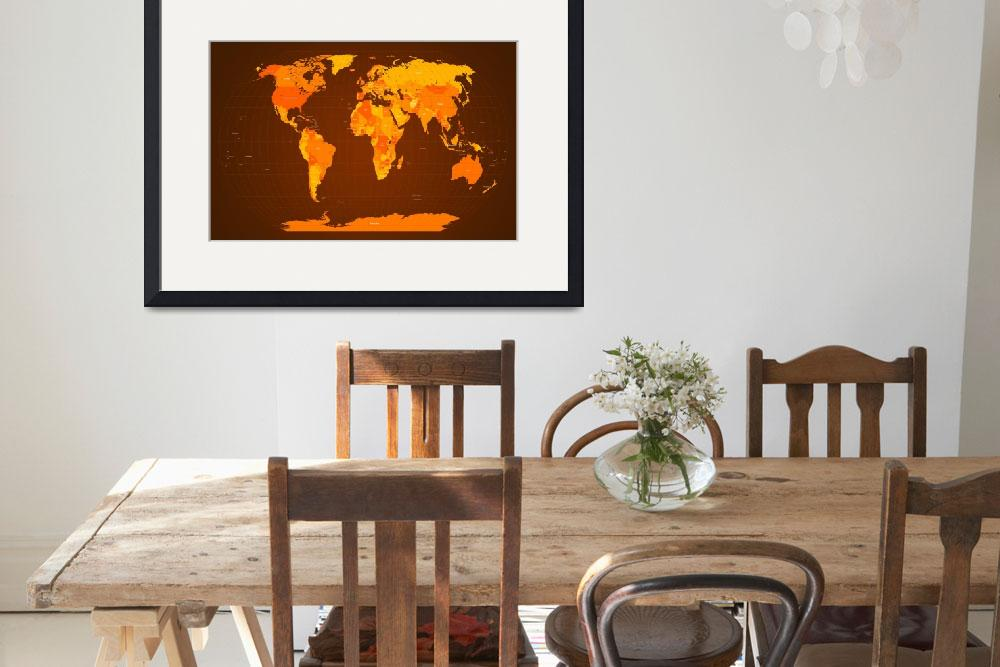 """World Map Fall Colours&quot  (2011) by ModernArtPrints"