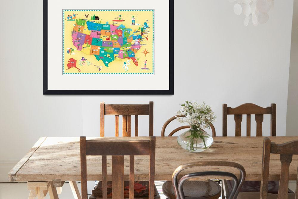"""Illustrated Map of the USA by Nate Padavick&quot  by TheyDrawandCook"