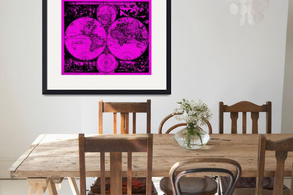 """Vintage Map of The World (1685) Black & Pink&quot  by Alleycatshirts"