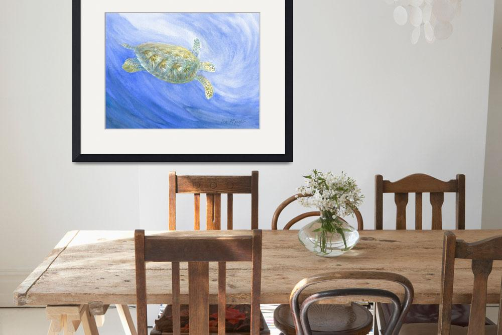"""sea turtle submerging&quot  by LisaMclaughlin"