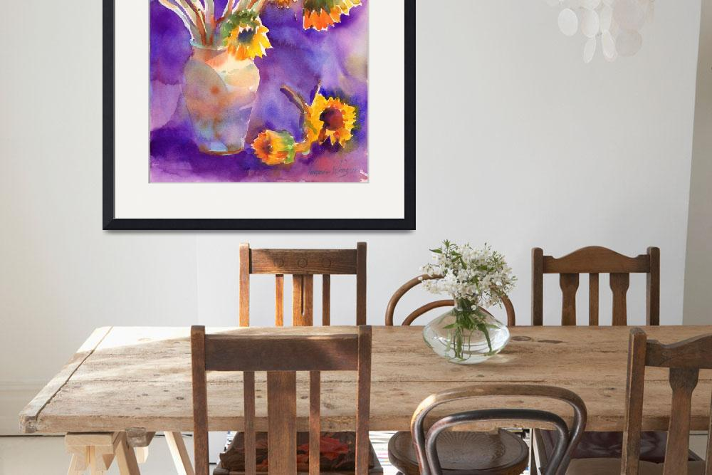 """Sunflowers on Purple&quot  (2011) by YevgeniaWatts"