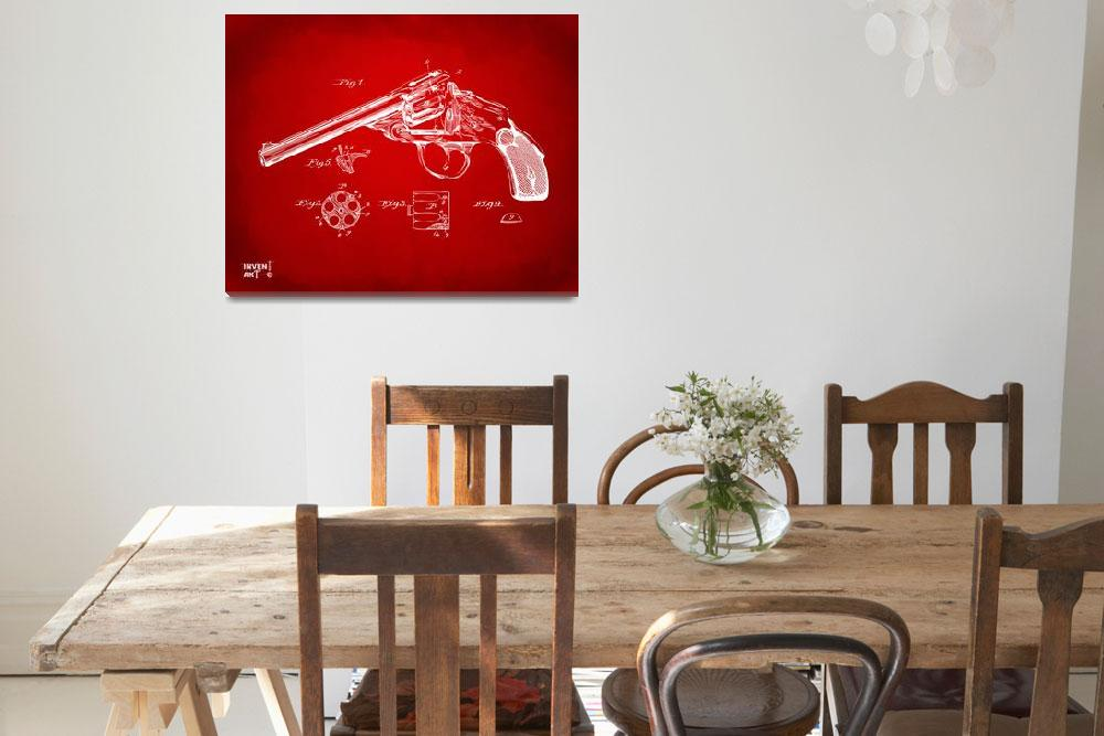 """Wesson 1889 Revolver Patent Minimal Red&quot  (2014) by nikkismith"