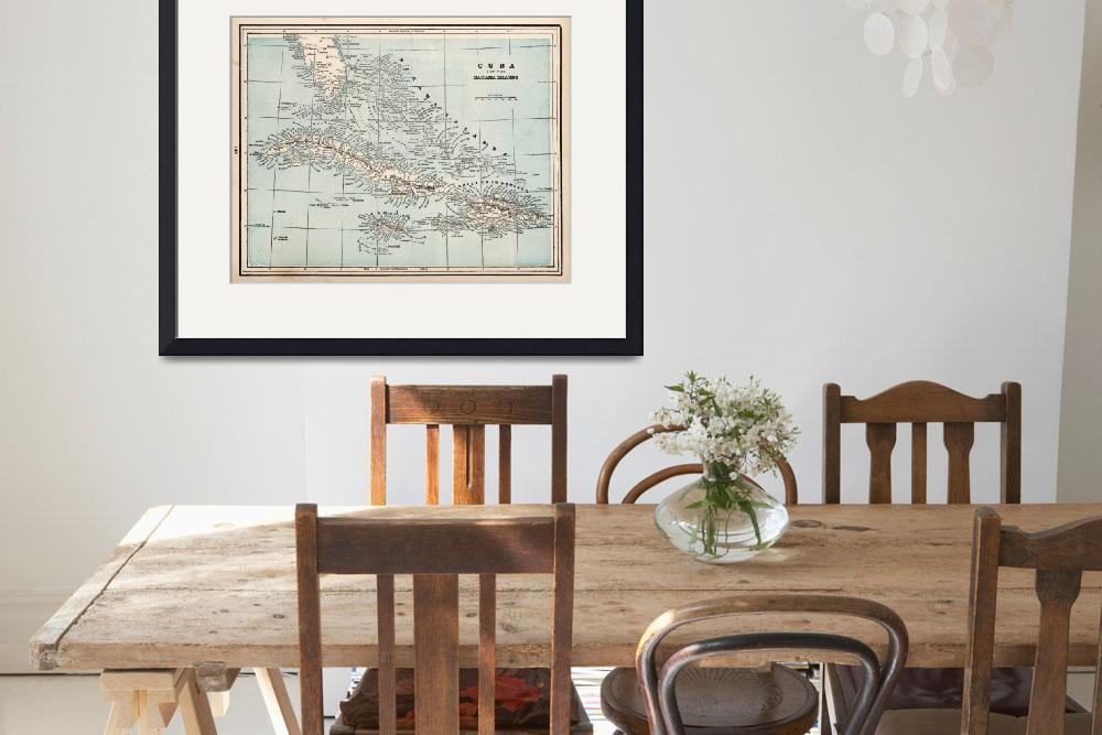 """Vintage Map of The Caribbean (1893)&quot  by Alleycatshirts"