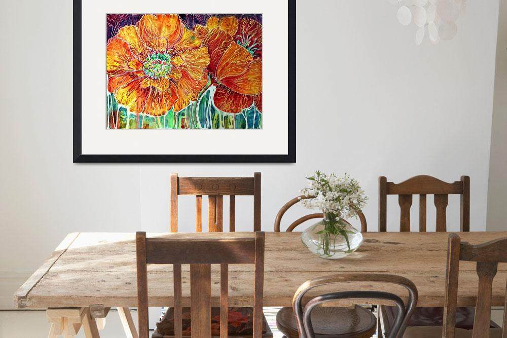 """Poppies in Batik on Canvas ~ An original by Marcia&quot  (2011) by MBaldwinFineArt2006"