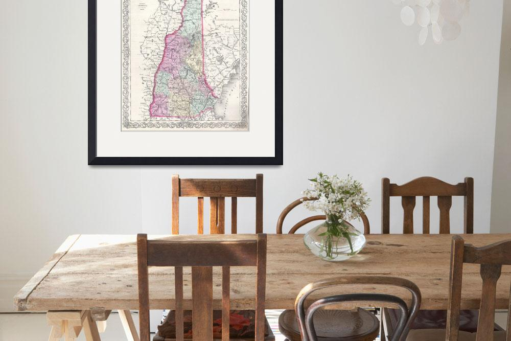 """Vintage Map of New Hampshire (1855)&quot  by Alleycatshirts"