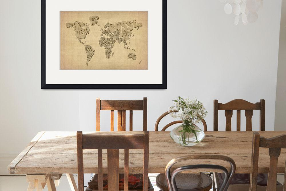 """Typographic Text Map of the World&quot  (2012) by ModernArtPrints"
