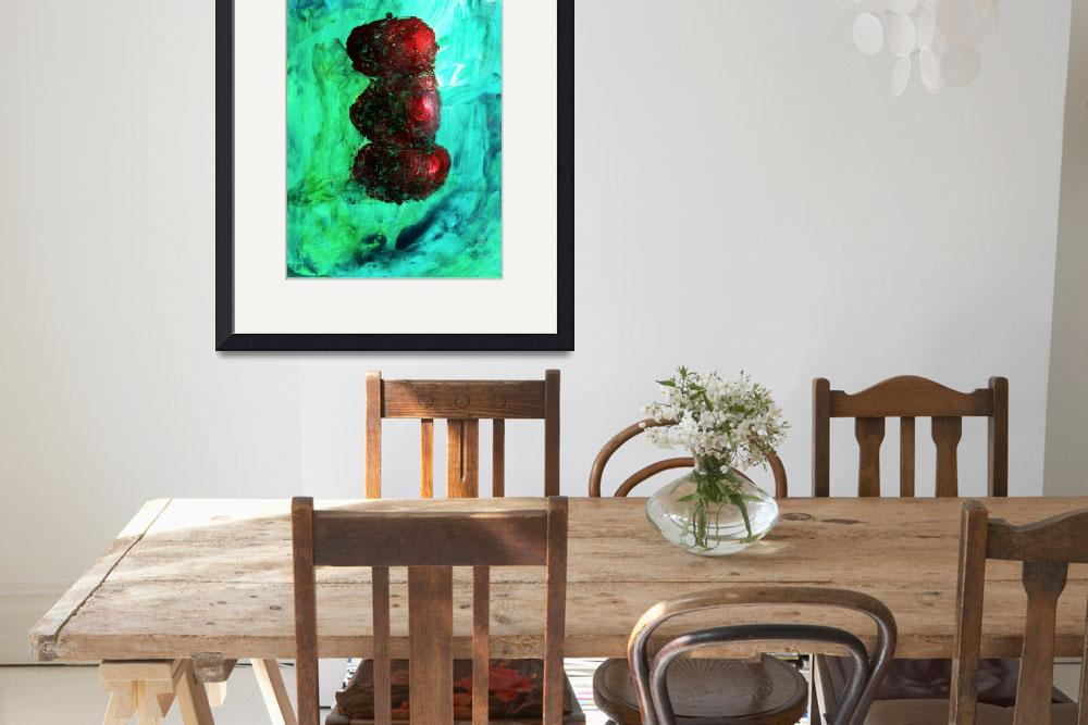 """Still LIfe Red Apples Stacked on Green Table and W&quot  (2012) by ExclusiveCanvasArt"