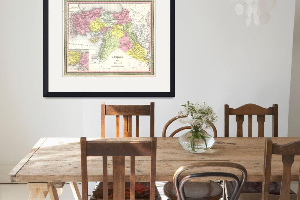 """Vintage Map of Turkey (1850)&quot  by Alleycatshirts"