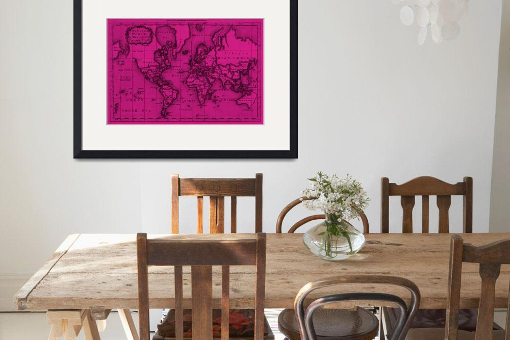 """World Map (1766) Pink & Black&quot  by Alleycatshirts"