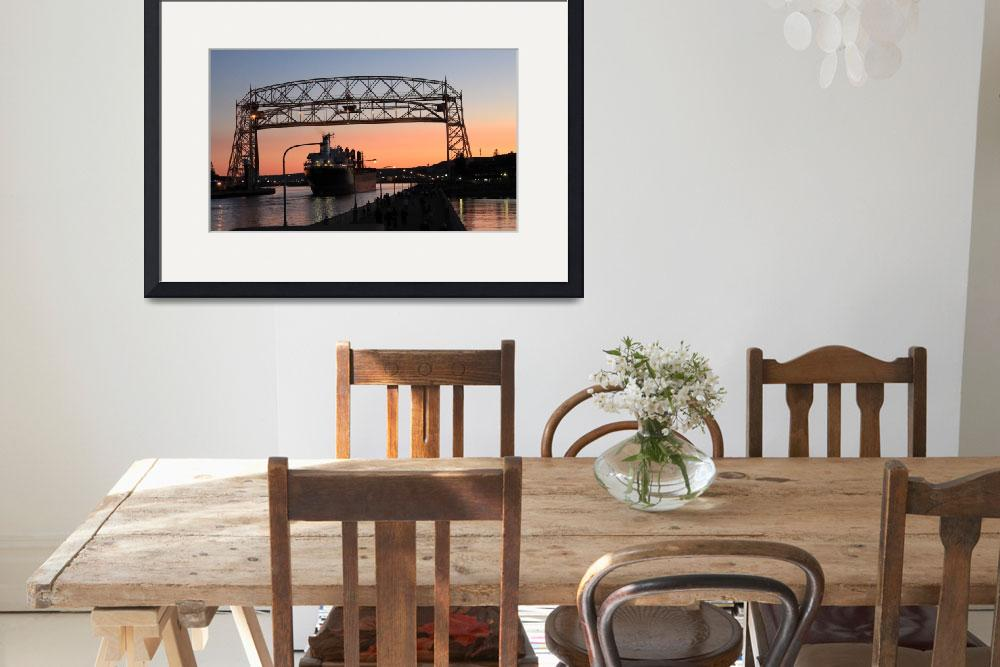 """Duluth Aerial Lift Bridge At Night With Ship&quot  by cameragal"