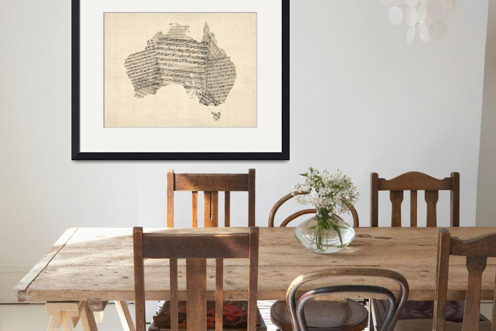 """Old Sheet Music Map of Australia Map&quot  (2012) by ModernArtPrints"