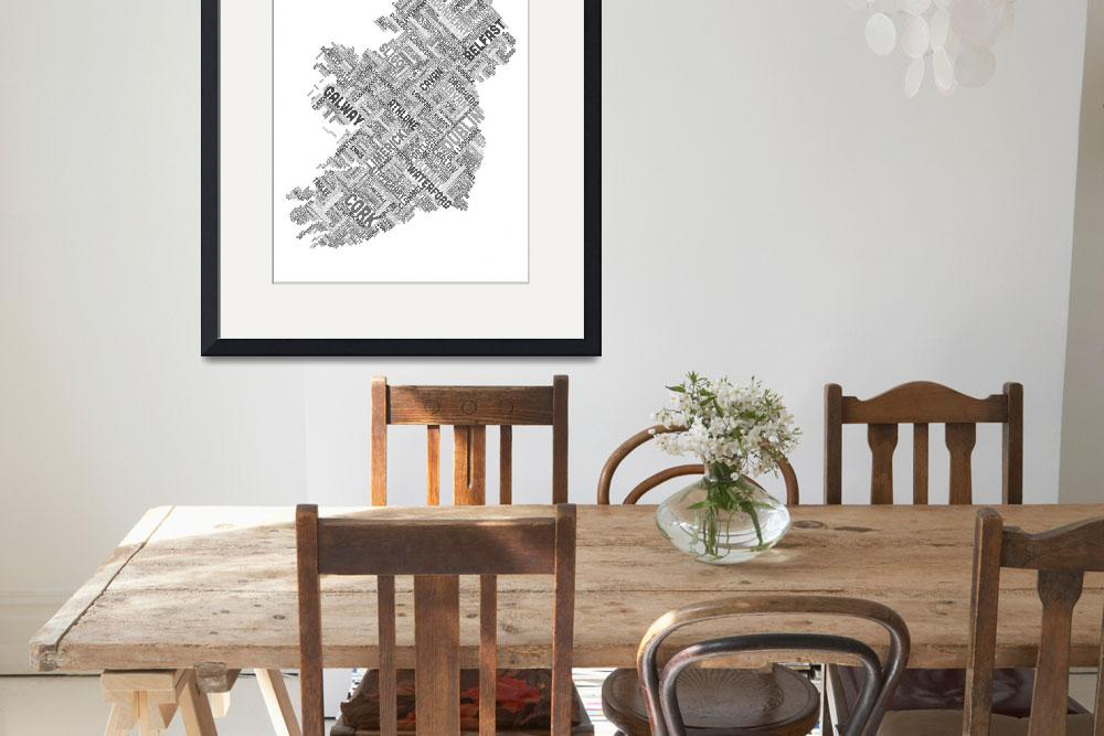 """Ireland Eire City Text map&quot  by ModernArtPrints"