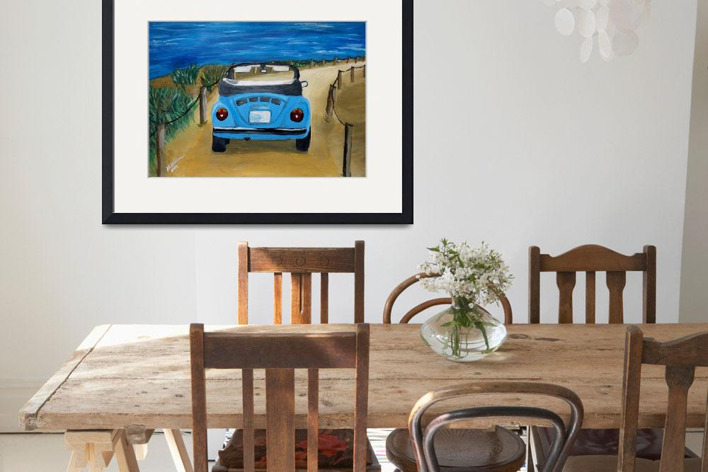 """Blue VW bug at beach&quot  (2014) by arthop77"