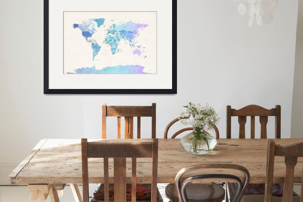 """Watercolour Political Map of the World&quot  (2013) by ModernArtPrints"