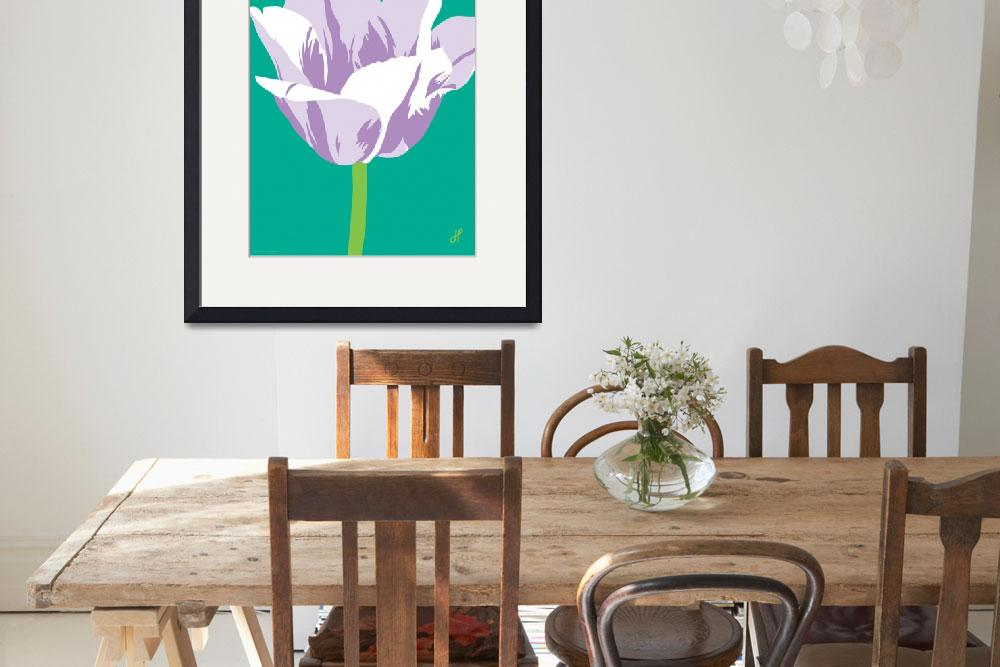 """Tulip on teal&quot  (2000) by Joanne_Hus_Studios"