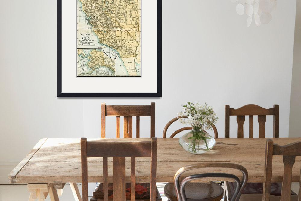 """California Nevada Alaska Antique Map 1891&quot  (2016) by WilshireImages"