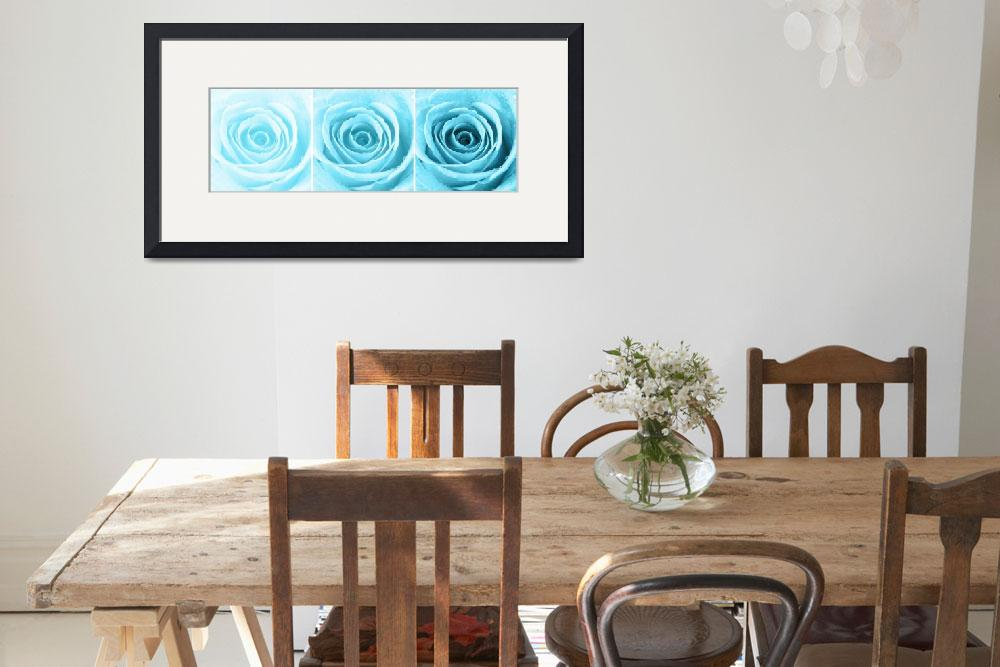 """Turquoise Rose with Water Droplets Triptych&quot  (2012) by NatalieKinnear"