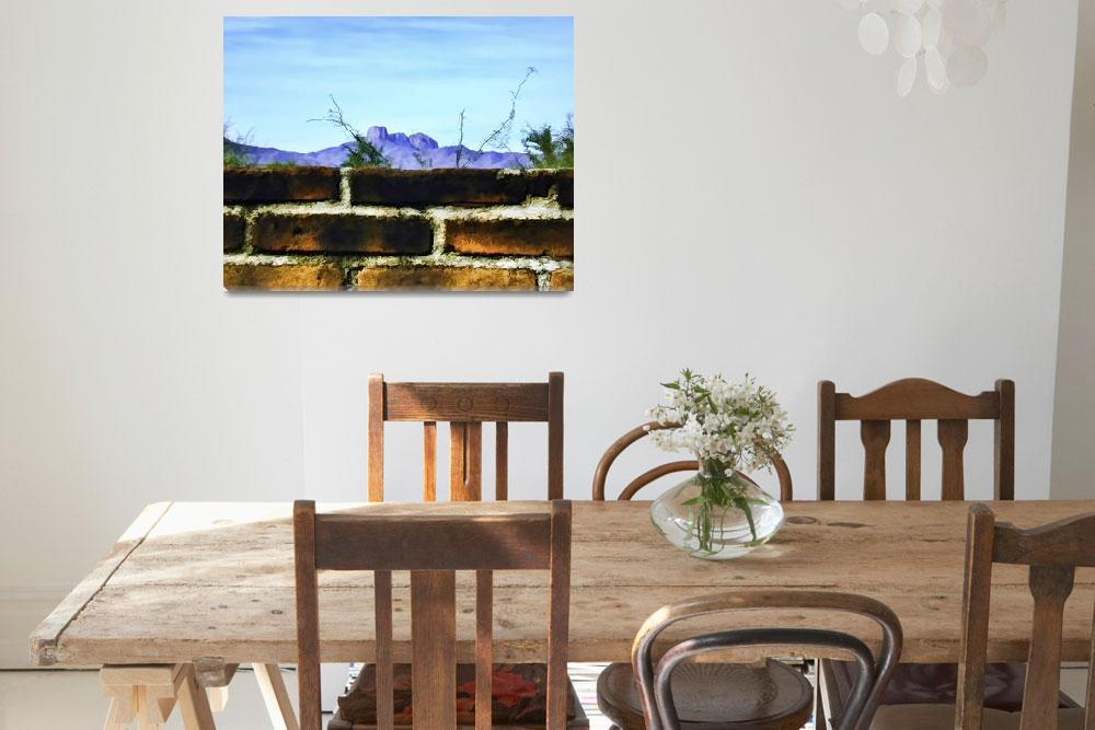 """Brick Wall and Mountain Range Landscape&quot  (2009) by johncorney"