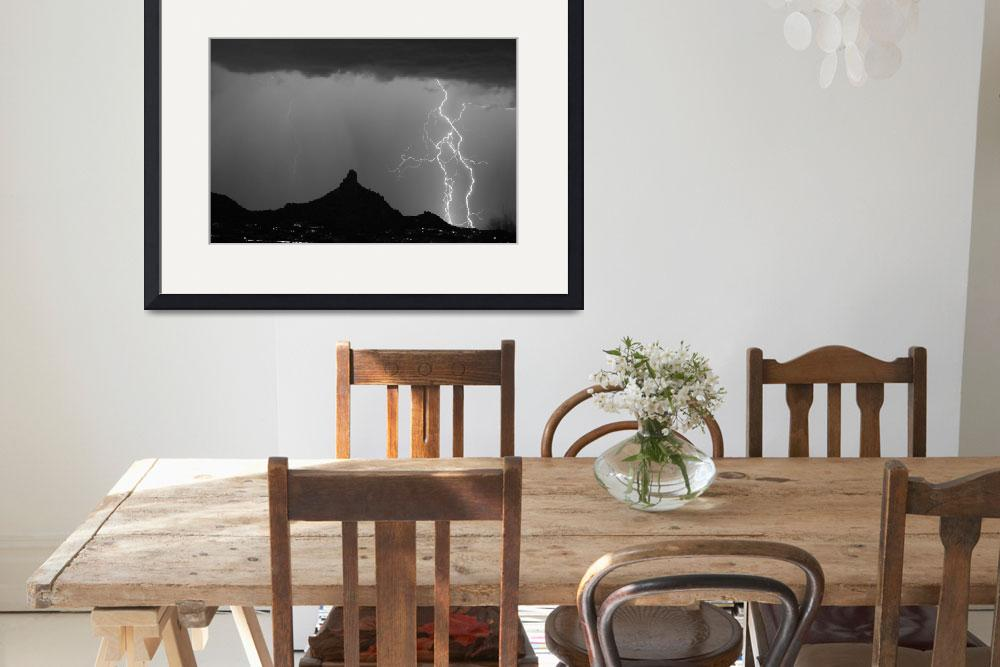 """Pinnacle Peak Double Lightning Strikes BW&quot  (2009) by lightningman"
