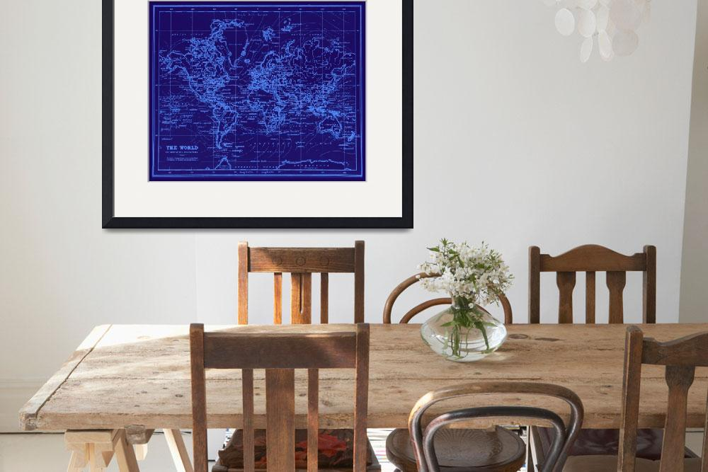 """World Map (1899) Blue & Light Blue&quot  by Alleycatshirts"
