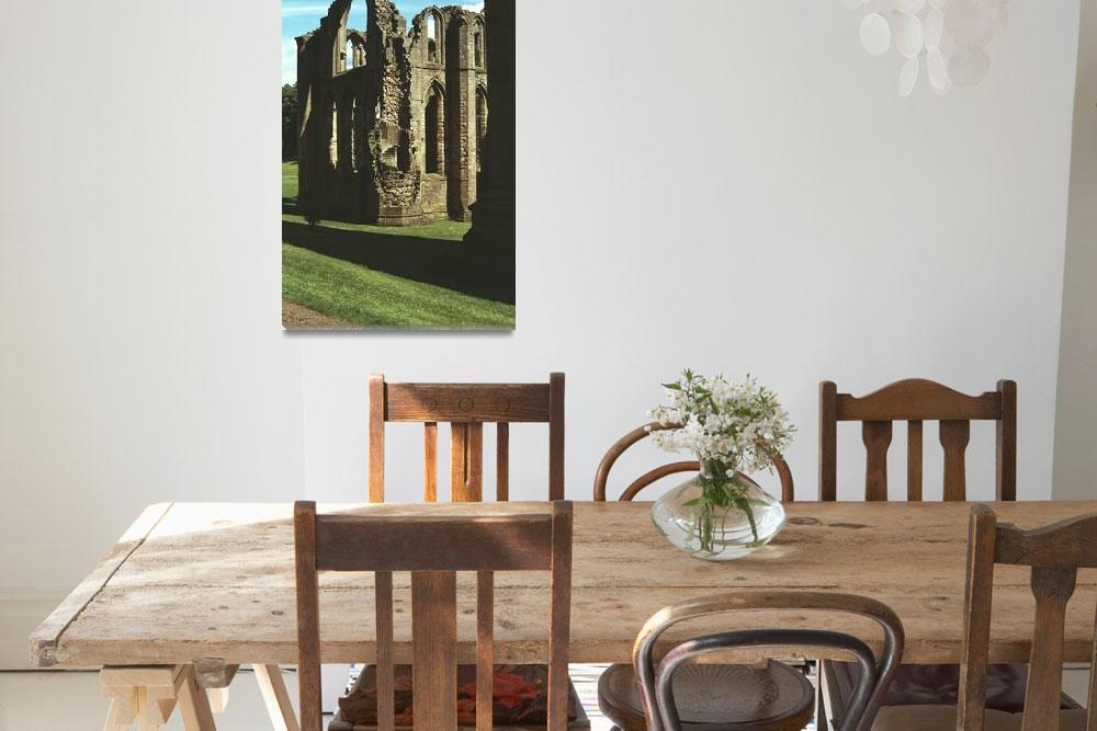 """Fountains Abbey in Summer 3&quot  (1990) by PriscillaTurner"