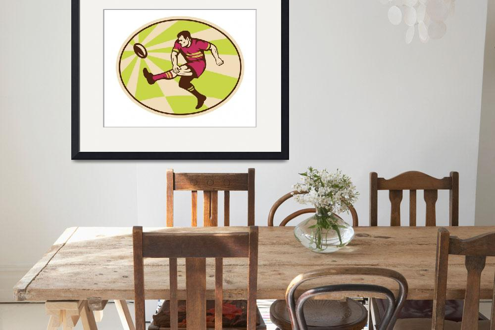 """Rugby player kicking the ball retro&quot  (2011) by patrimonio"
