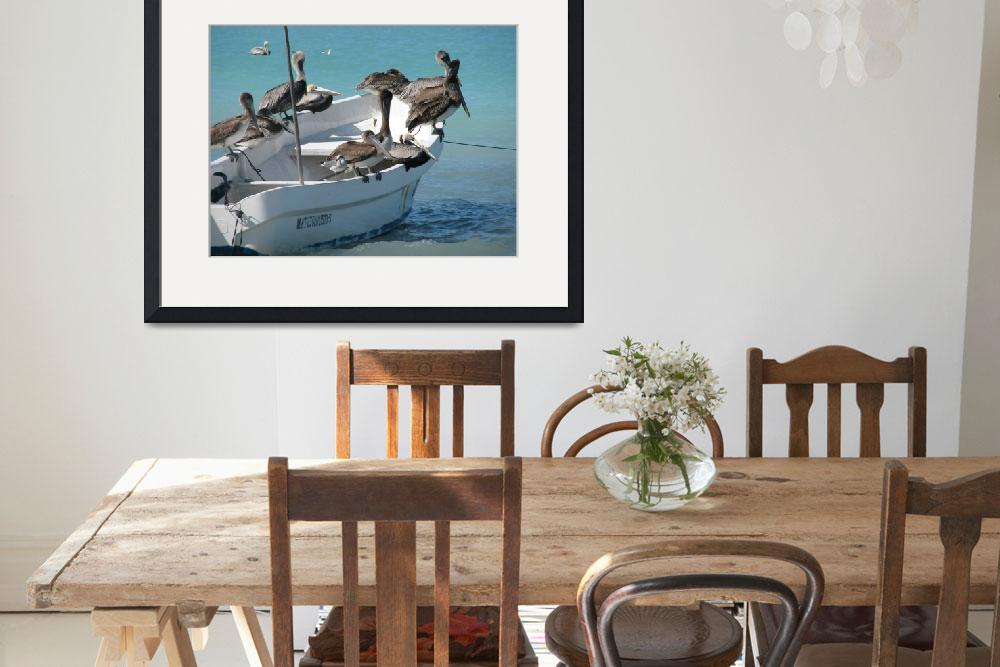 """pelicans feeding on a fishing boat&quot  (2010) by Maly"