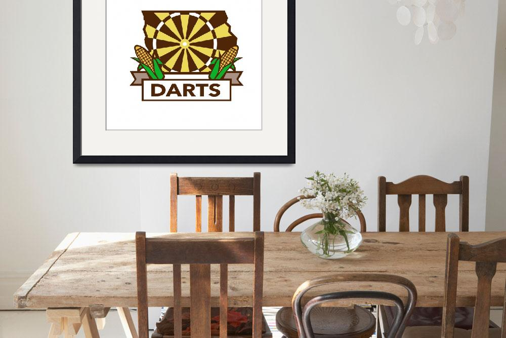 """Dart Board Iowa State Map Corn Retro&quot  (2016) by patrimonio"