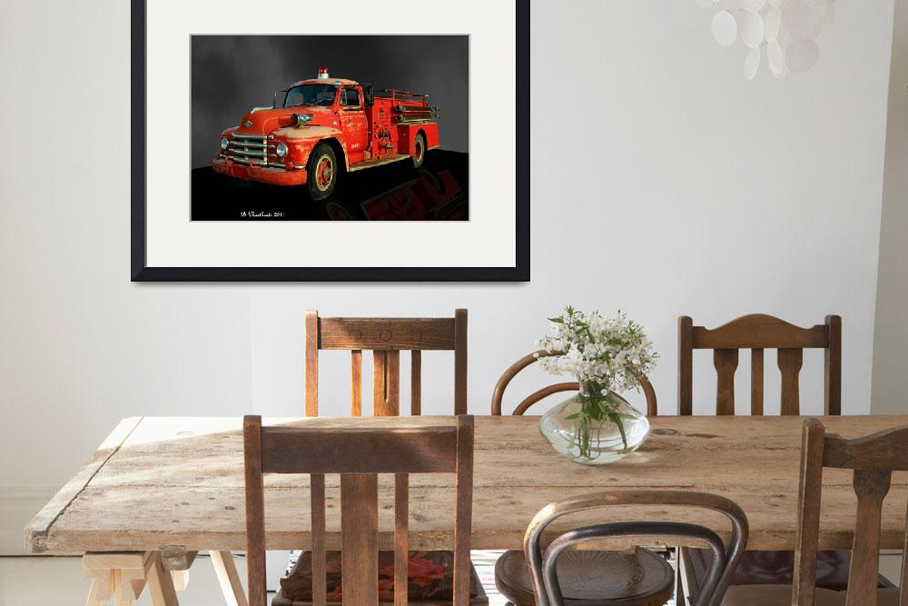 """1955 Diamond T Fire Truck - An American Classic&quot  (2011) by bettynorthcutt"