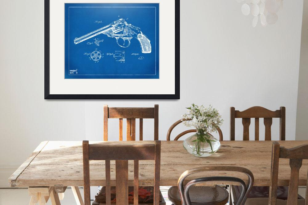 """Wesson 1889 Revolver Patent Minimal - Blueprint&quot  (2014) by nikkismith"