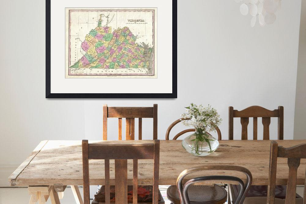 """Vintage Map of Virginia (1827)&quot  by Alleycatshirts"