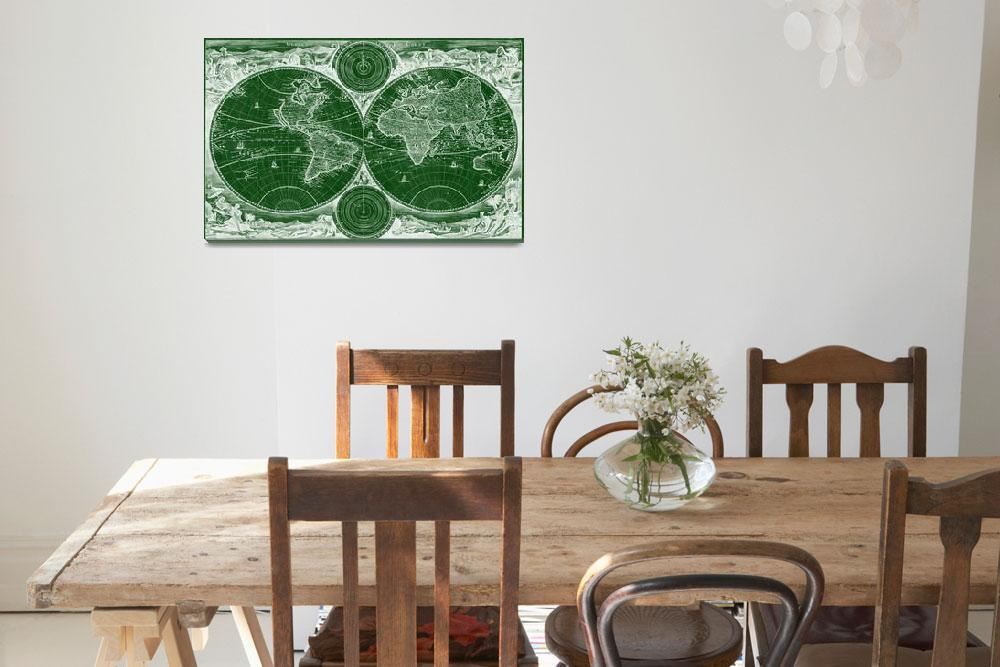 """World Map (1730) Green & White&quot  by Alleycatshirts"