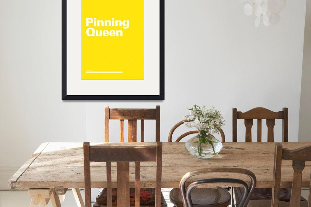 """Pinning Queen typographic poster - Yellow and Whit&quot  (2012) by kken"