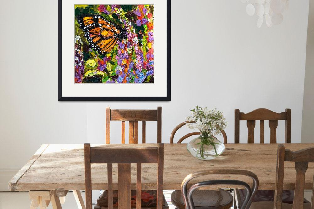 """Monarch Butterfly On Lupines Original Oil Painting&quot  (2005) by GinetteCallaway"