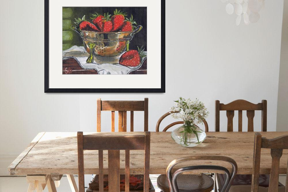 """Copper Strainer with red Strawberries, still life&quot  (2015) by artprintsgalore"