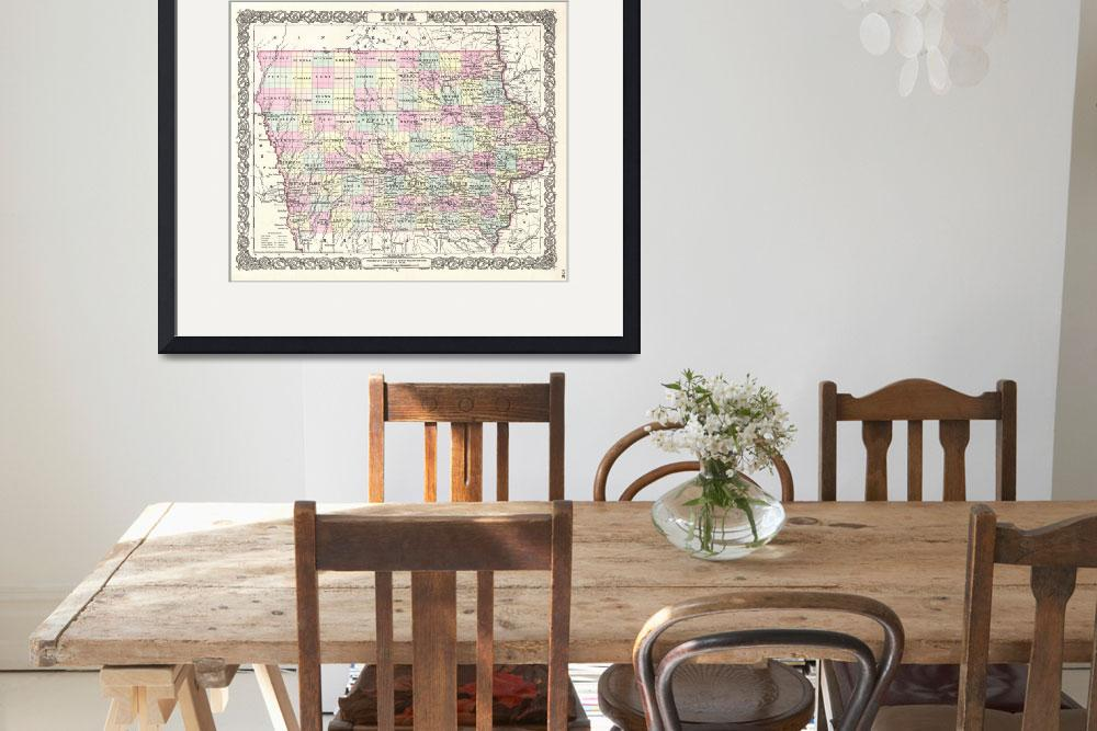 """Vintage Map of Iowa (1855)&quot  by Alleycatshirts"