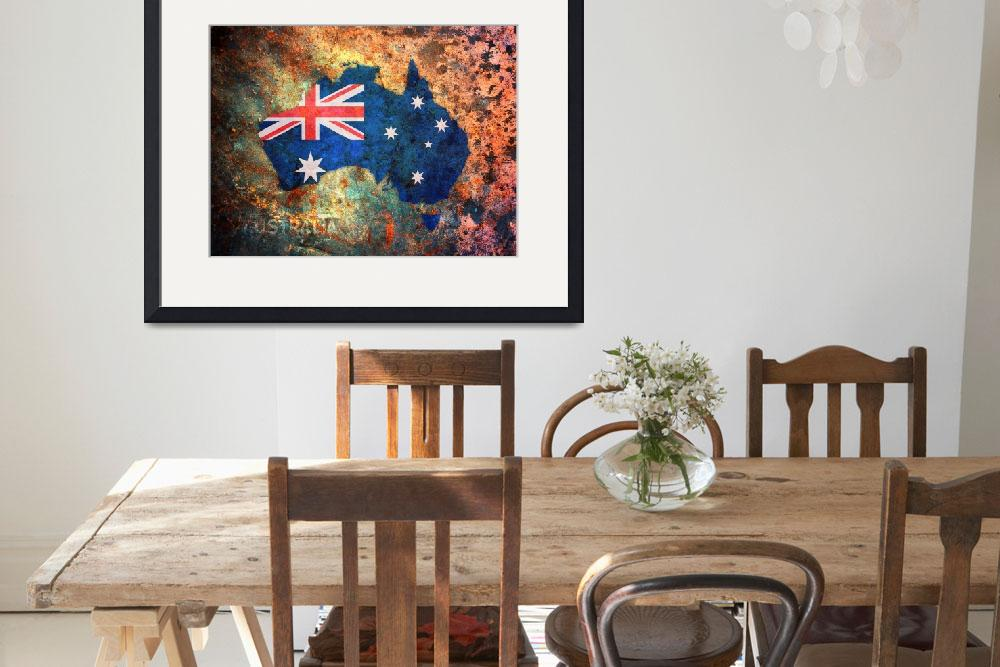 """Australia Flag Map&quot  (2010) by ModernArtPrints"