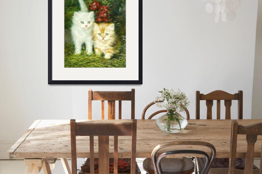 """Kittens and Flowers&quot  (2000) by GalleryFinds"
