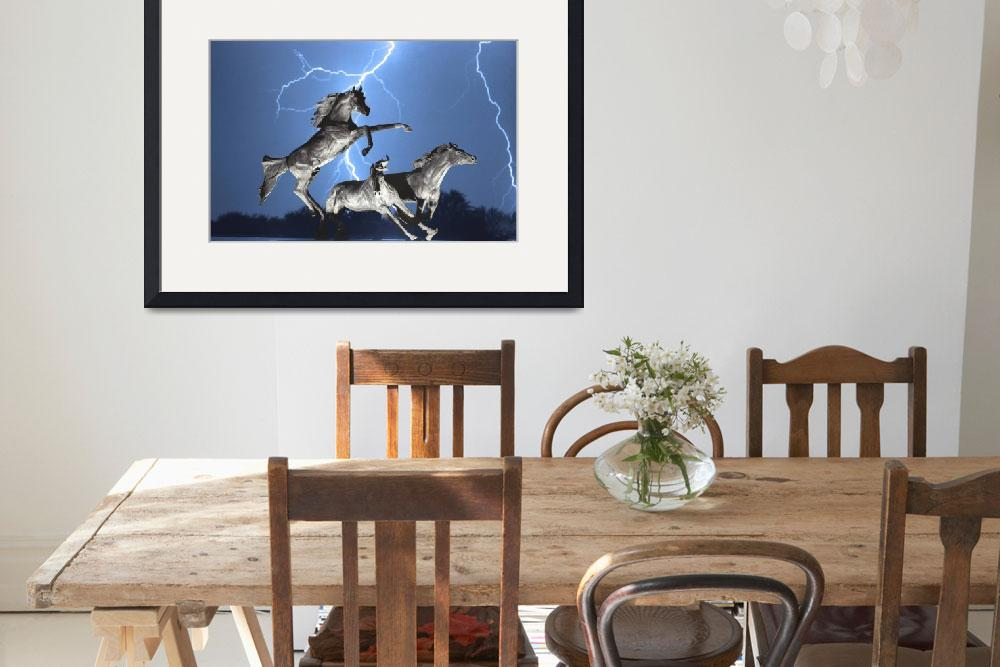 """Lightning Bolts At Horse World BW Color Print&quot  (2011) by lightningman"