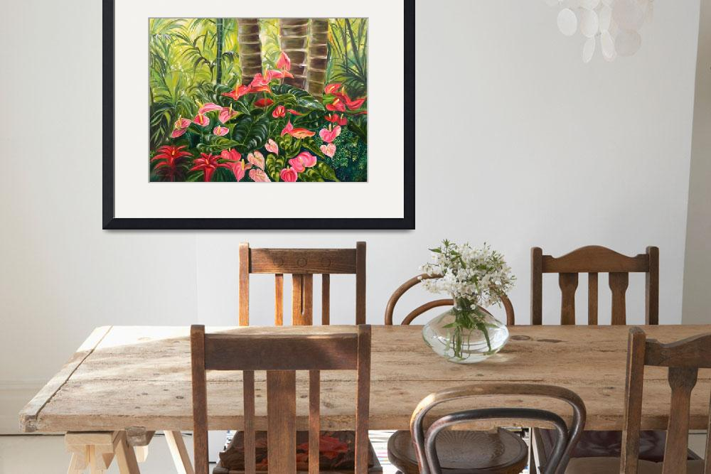 """Tropical Red and Pink Anthurium Jungle&quot  by JennyFloravita"